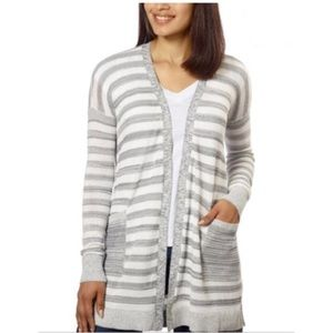 CK Jeans Long Open Cardigan in Grey Stripes